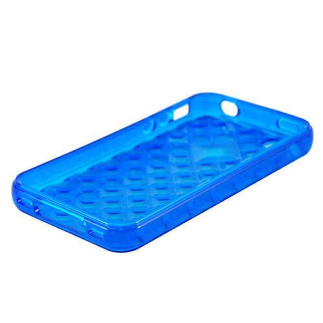 Průhledné ochranné pouzdro pro iPhone 4 a 4S - modré designové 1