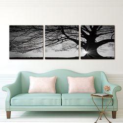 Obrazek z zachodem słońca i drzewem - 3 sztuki