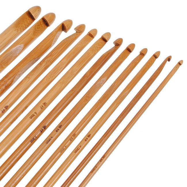 Komplet 12 bambusowych szydełek do szydełkowania - różne wielkości 1