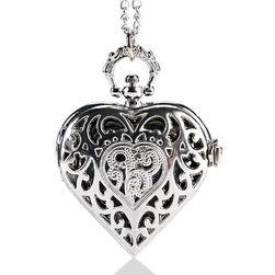Ceas de buzunar în formă de inimă - culoare argintie