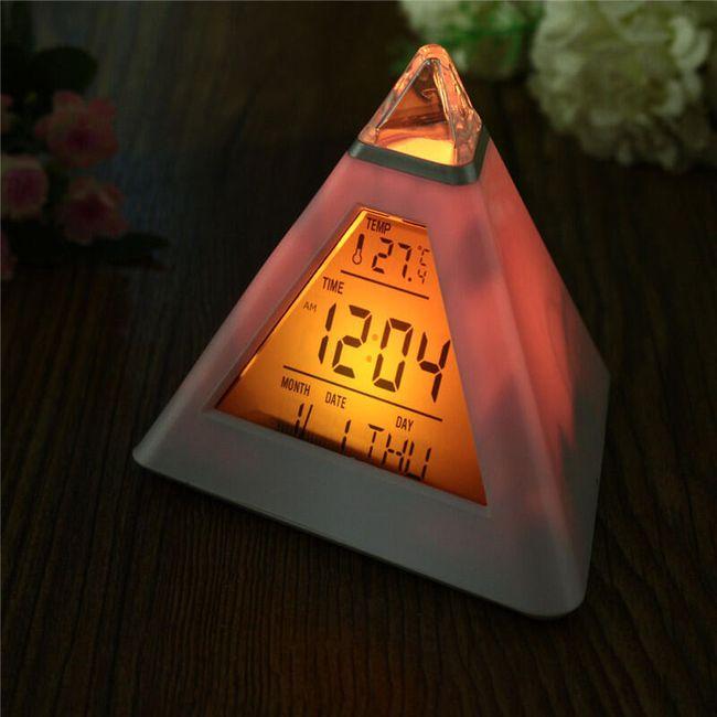 Цифровой будильник с указанием даты и температуры - Пирамида меняющая цвета 1
