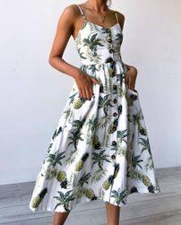 Летнее платье с цветочным принтом- 5 цветов