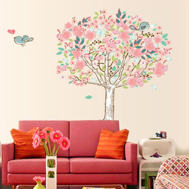 Samolepka na zeď ve tvaru stromu s ptáčky 1