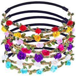Coroniță elastică cu flori - 7 bucăți