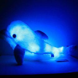 Pernă pufoasă cu lumină LED - Delfin -culoare albastră