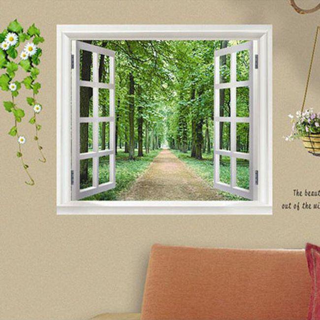 Nalepka za zid - okno s pogledom v naravo 1