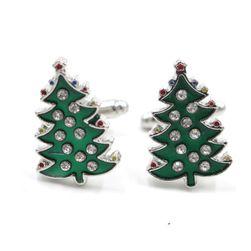Manžetové knoflíčky ve tvaru vánočních stromečků