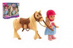 Bábika žokejka Kiki Anlily kĺbová 12cm plast s koňom v krabičke 18x16x5cm RM_00850305
