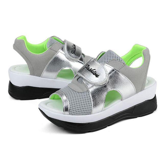 Dámské turistické sandále na suchý zip - Zelená-22,5 cm (vel. 35 cm) 1