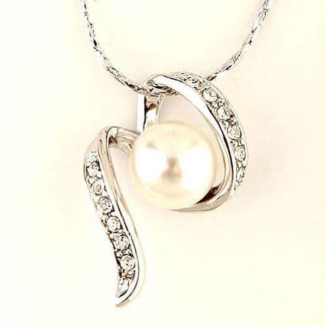 Elegantní náhrdelník s perlou (22cm) 1
