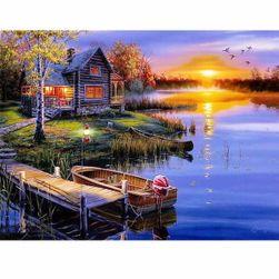 5D festmény 40 x 50 cm - Ház a tónál