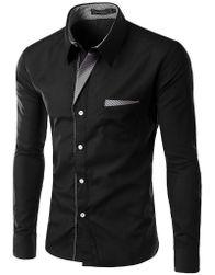 Мужская рубашка с длинным рукавом slim-fit - 17 расцветок