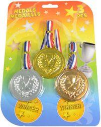 Medaile olympijské 12cm pro vítěze trikolora set 3ks na kartě plast SR_DS11082711