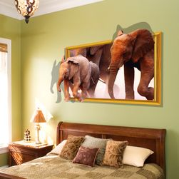 3D samolepka na zeď - Běžící sloni