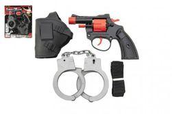 Pistolet kapiszony, 8 naboi, plastikowy, 13 cm z kaburą z kajdankami na kartonie RM_00850406