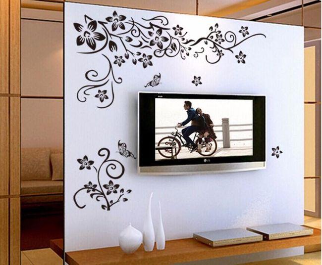 Наклейка на стену - цветущий орнамент с бабочками 1