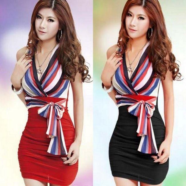 Dámské šaty s pruhovanou vrchní částí a mašlí - ve 2 barvách 1