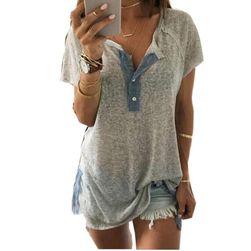 Luźna damska koszulka z guzikami - szara