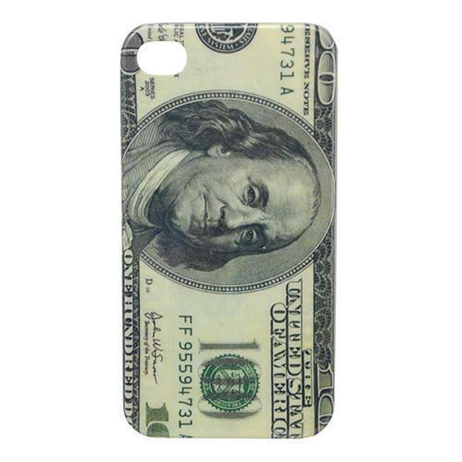 Plastový ochranný kryt na iPhone 4 a 4S - motiv Dollar 1
