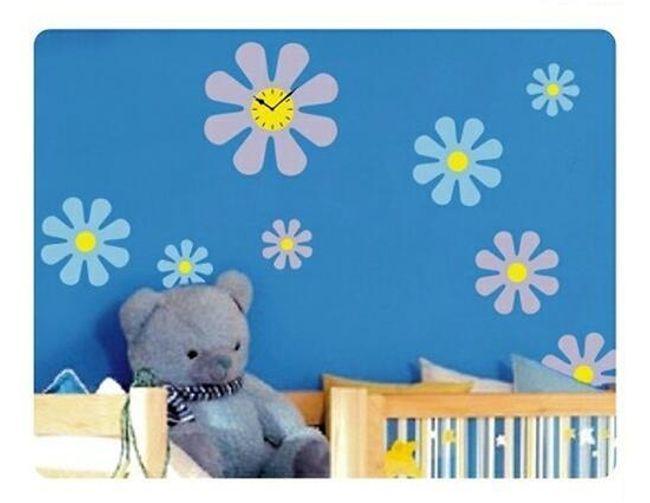 Nálepky na zeď s hodinami - motiv květin 1