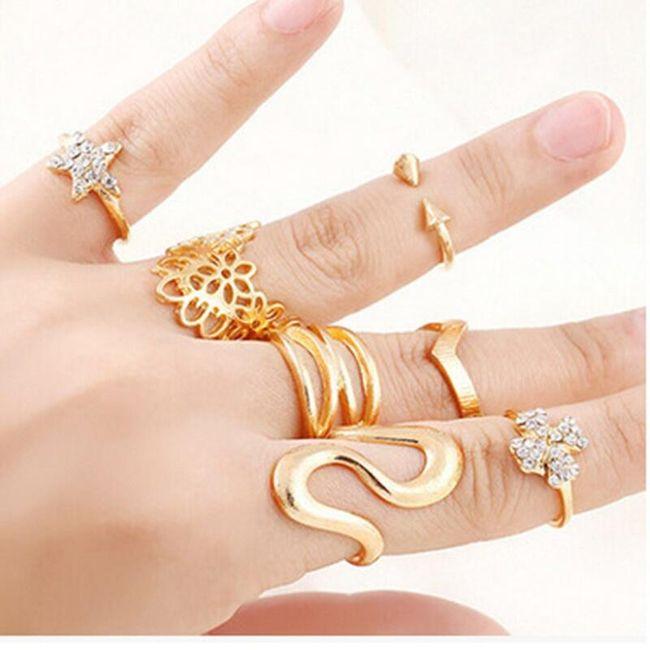 Sada prstýnků na články prstů ve zlatě barvě 1