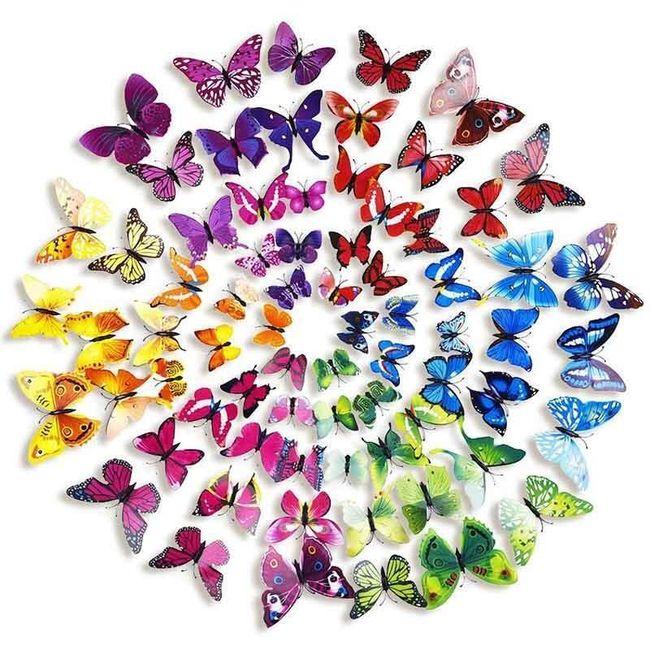 Set de fluturi 3D - 72 bucăți 1