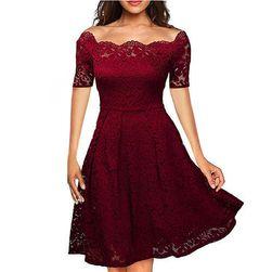 Svečana čipkasta obleka Rdeča2 velikost št. 6