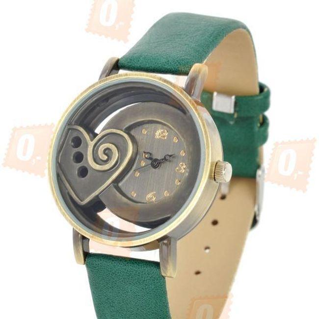 Retro hodinky se srdíčkem - zelené 1