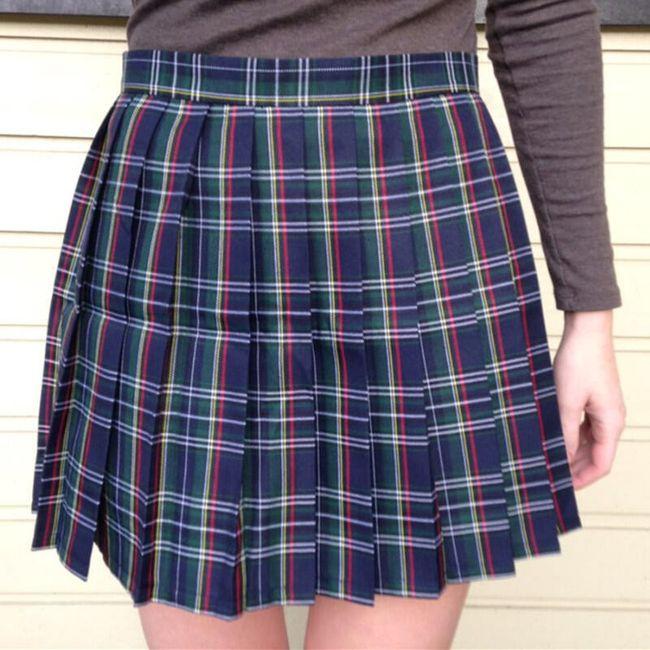 Dámská skládaná sukně v kostkovaném designu 1