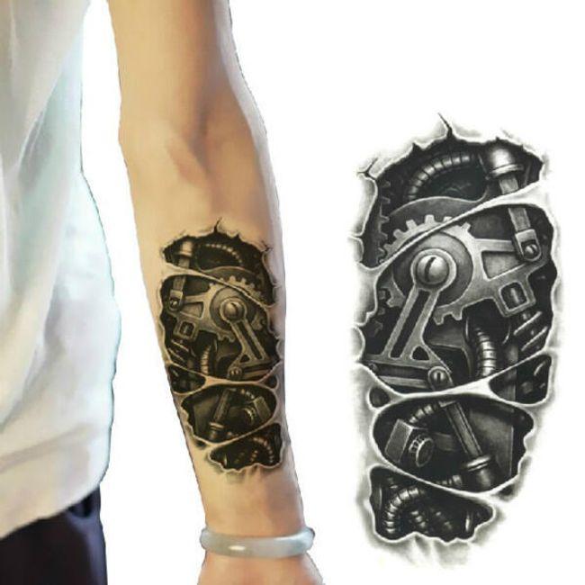 Переводная 3D татуировка для мужчин- Механические детали 1