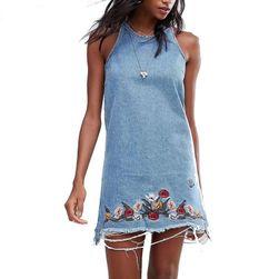 Džínové šaty s výšivkou