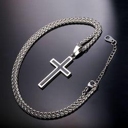 Řetízek s přívěskem kříže - zlatá/stříbrná barva