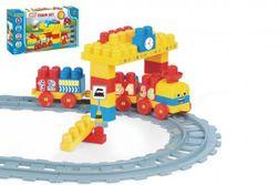 Baby Blocks vlak s kolejemi a stavebnicí plast délka dráhy 2,24m s doplňky v krabici 56x30x8cm 12m+ RM_89041471