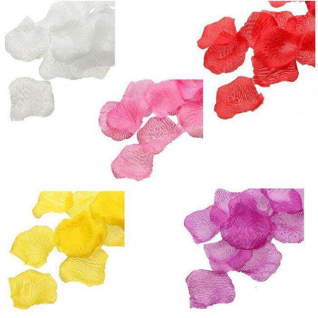 Dekorativní konfety - okvětní lístky růže v 5 barvách - 1000 ks 1