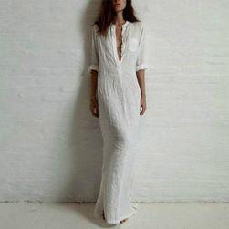 Dolga obleka-srajca - 3 barve Bela - velikost 6