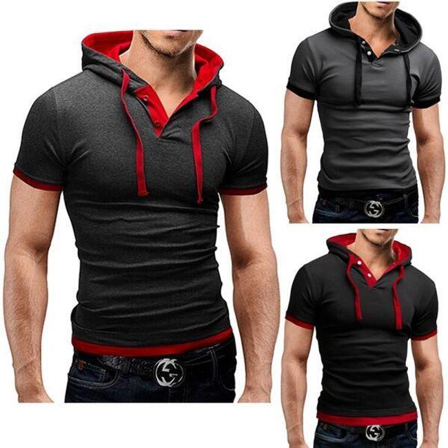Férfi sport póló kapucnival - 3 színben 1