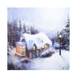 Vánoční bezrámový obraz - zasněžená chalupa