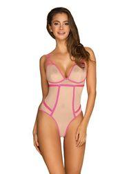 Elegantné body Nudelia teddy neon pink PR_P49439