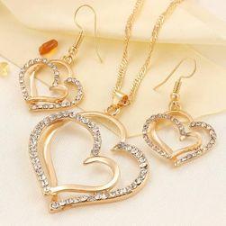 Romantyczny zestaw biżuterii z kamyczkami - 2 kolory