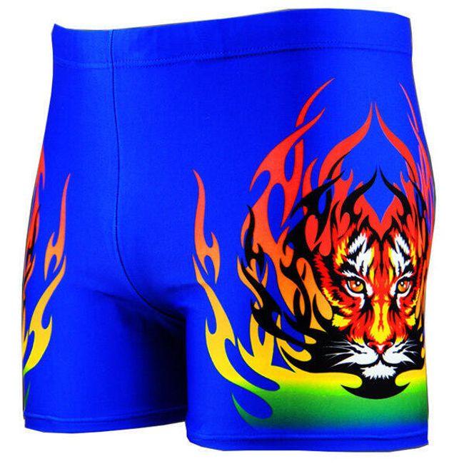 Boxeri înot pnetru bărbați cu imprimeu tigru și flăcări 1