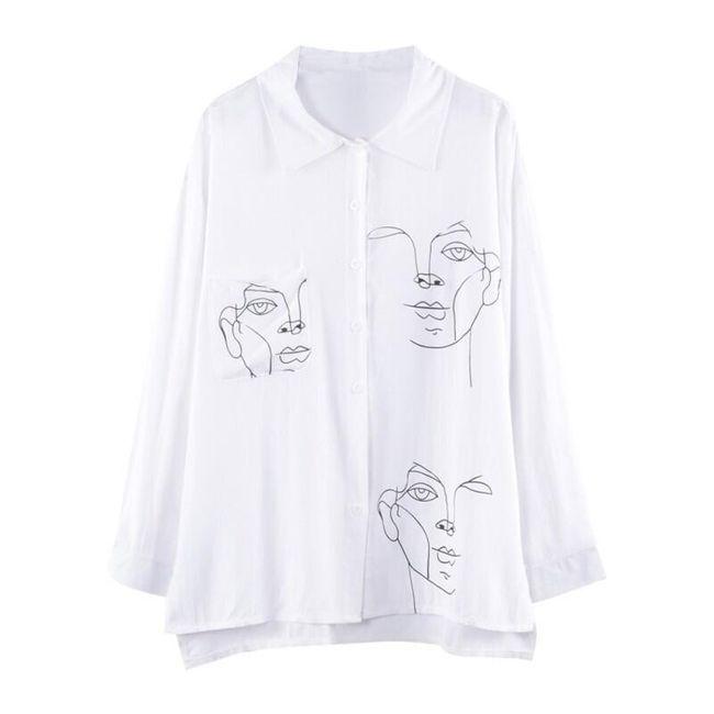 Stylová dámská košile s potiskem - 2 barvy 1