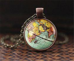 Štýlový vintage náhrdelník - mapa sveta