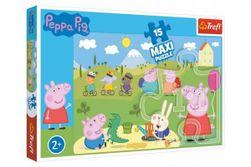 Puzzle Prasiatko Peppa / modré plavky Šťastný deň 60x40cm 15 dielov krabičke 40x26x4,5cm 24m + RM_89014334