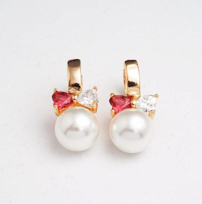 Náušnice s umělou perličkou a mašličkou 1