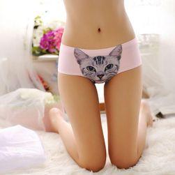 Damskie majtki z obrazkiem kota - różowe