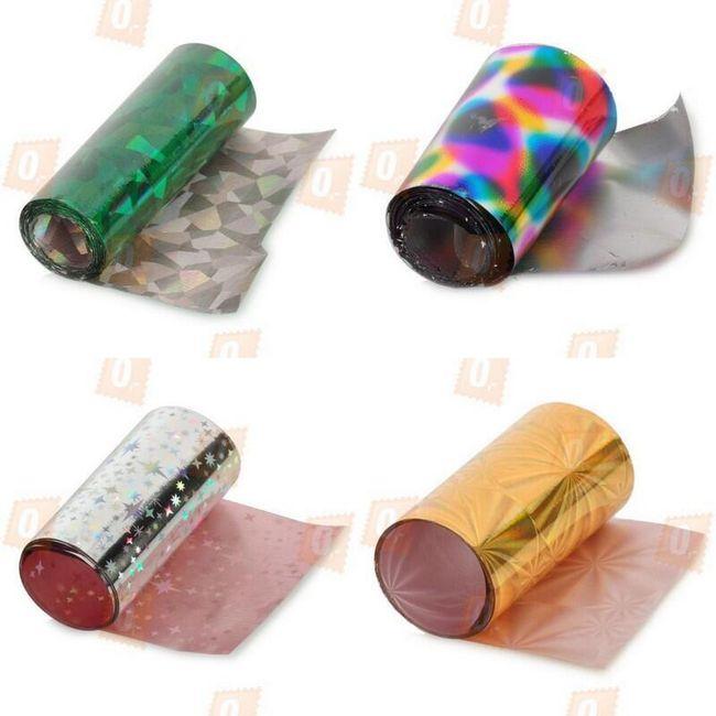 Metalická fólie na zdobení nehtů - ve 4 barvách 1
