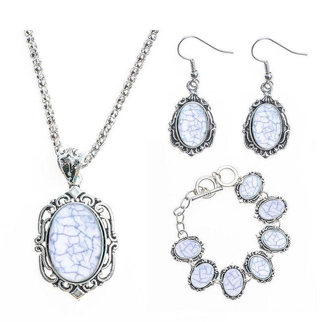 Sada šperků s kamínky s mramorovým efektem - 4 barvy 1