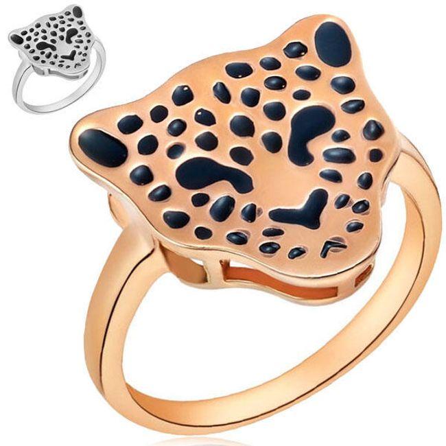 Prsten s dekorací ve tvaru leopardí hlavy - 2 barvy 1