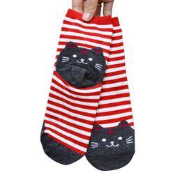 Pruhované ponožky s kočičkou