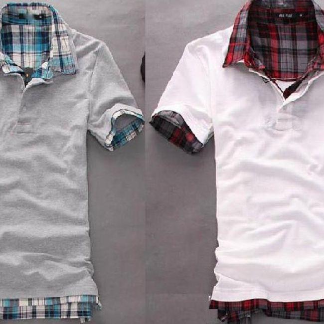 Męska koszulka polo z kołnierzykiem oraz rękawami w kratę - 2 kolory 1